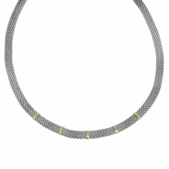 Silver and 18kt Gold 17 Inch Popcorn Necklace with Gold Elements