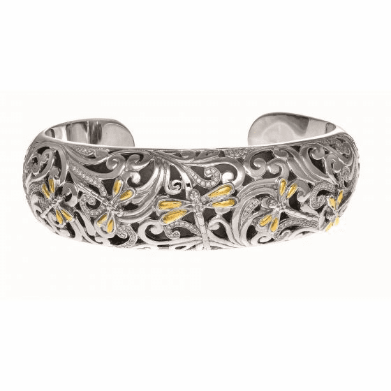 Silver and 18kt Gold 17mm 0.59Ct. Diamonds Dragonfly Wider Cuff Bangle