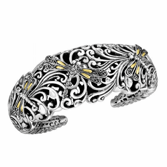 Silver and 18kt Gold 19mm Dragonfly Graduated Cuff Bangle