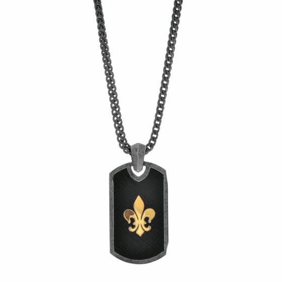 Silver and 18kt Gold 21x41mm Pendant with Fleur De Lis on 22in Chain