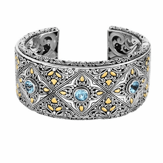 Silver and 18Kt Gold 34mm Wide Byzantine Cuff with Blue Topaz