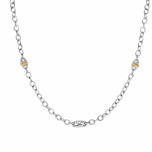 Silver and 18kt Gold 36in Italian Cable Necklace with Stations