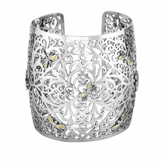 Silver and 18kt Gold 60mm Wide Dragonfly Latticework Cuff Bangle