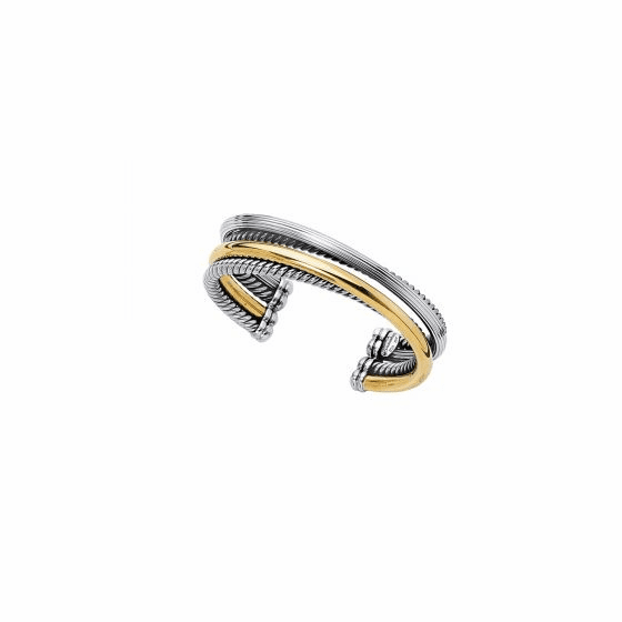 Silver and 18kt Gold Bold Italian Cable Cuff Bangle