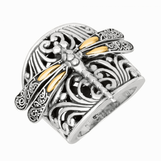 Silver and 18kt Gold Bold Oxidized Dragonfly Ring