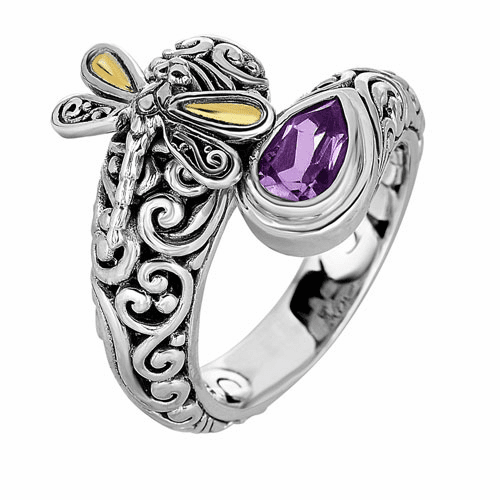Silver and 18kt Gold Bypass Graduated Dragonfly Ring with Amethyst