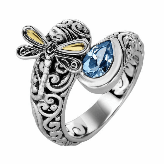 Silver and 18kt Gold Bypass Graduated Dragonfly Ring with Blue Topaz