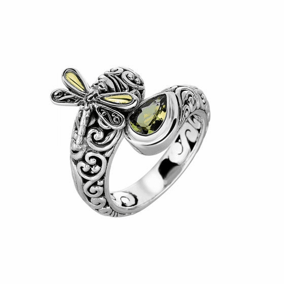Silver and 18kt Gold Bypass Graduated Dragonfly Ring with Peridot