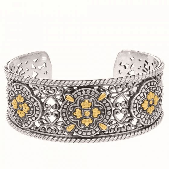 Silver and 18kt Gold Byzantine Clover Cuff Bangle
