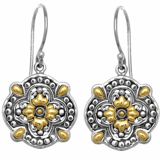 Silver and 18kt Gold Byzantine Clover Earrings