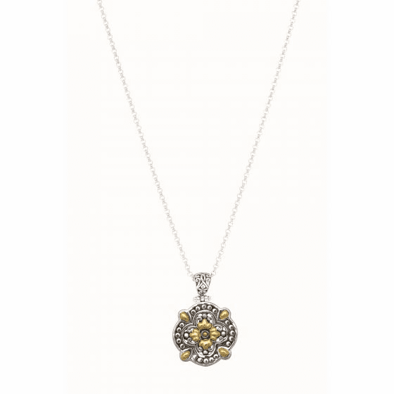 Silver and 18Kt Gold Byzantine Clover Pendant