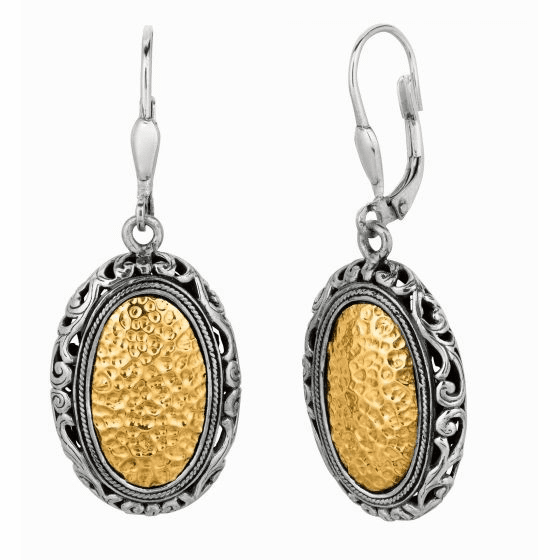 Silver and 18kt Gold Byzantine Hammered Oval Byzantine Drop Earrings