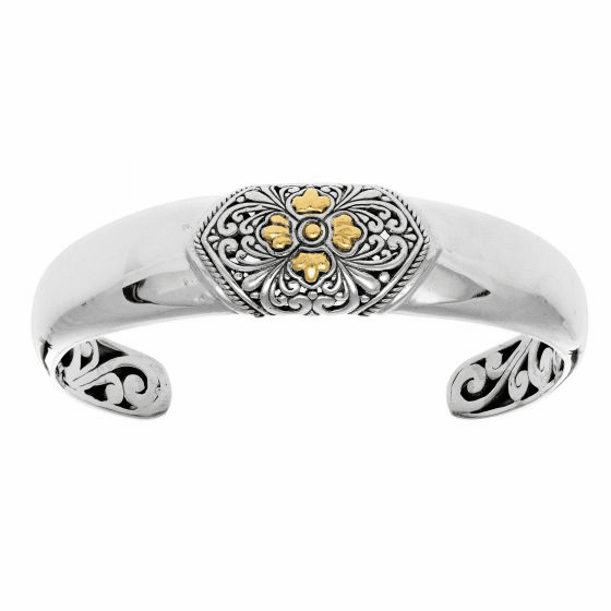 Silver and 18kt Gold Byzantine Polished Cuff Bangle with Curved Design