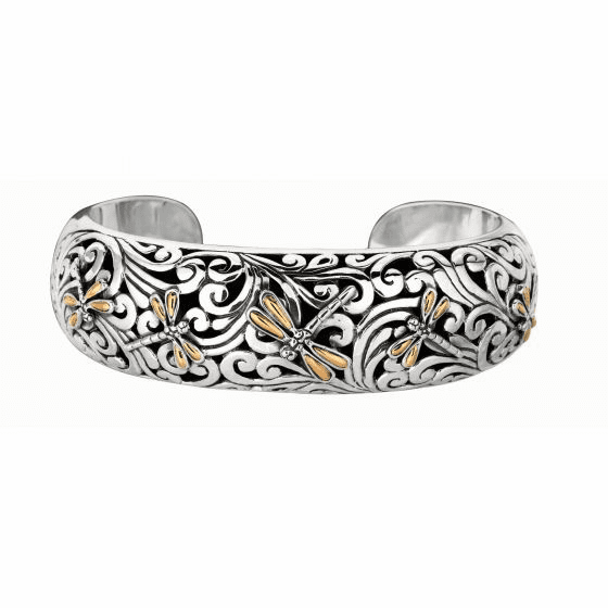 Silver and 18kt Gold Cuff Bangle with Dragonfly Elements