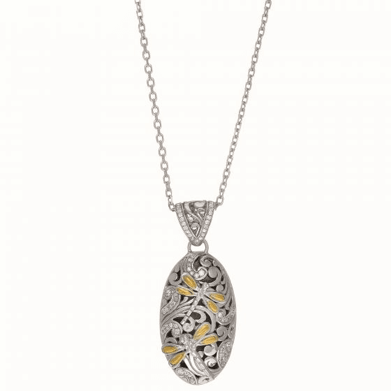 Silver and 18kt Gold Dragonfly Oval Pendant with 0.43Ct. Diamonds