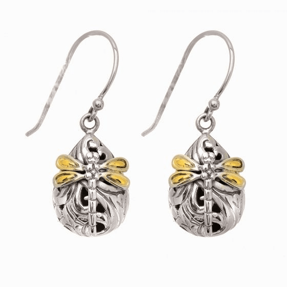 Silver and 18kt Gold Dragonfly Teardrop Earrings