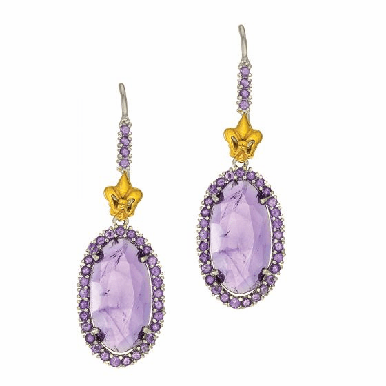 Silver and 18Kt Gold Gem Candy Oval Drop Earrings with Amethyst