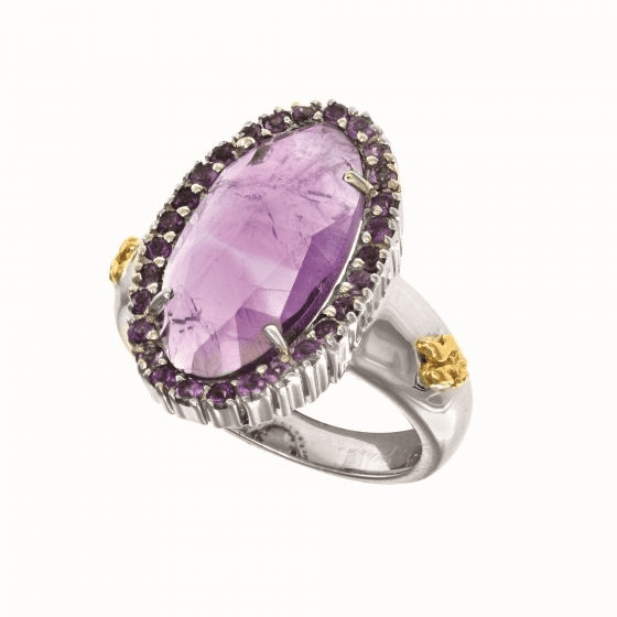 Silver and 18Kt Gold Gem Candy Oval Ring with Large Amethyst