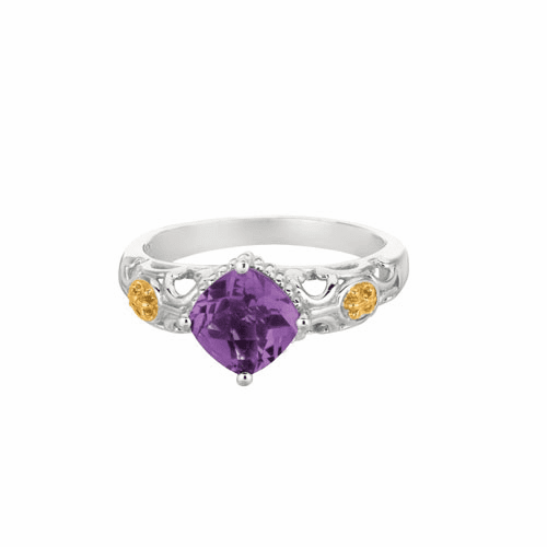 Silver and 18Kt Gold Gem Candy Square Amethyst Ring