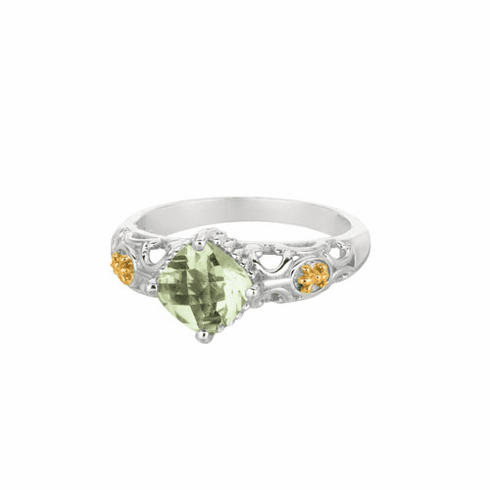 Silver and 18Kt Gold Gem Candy Square Green Amethyst Ring