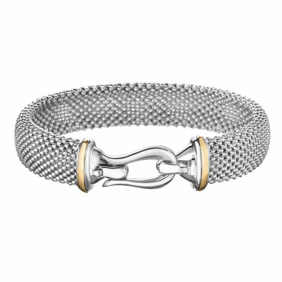 Silver and 18kt Gold Horsebit Large Popcorn Mesh Bracelet