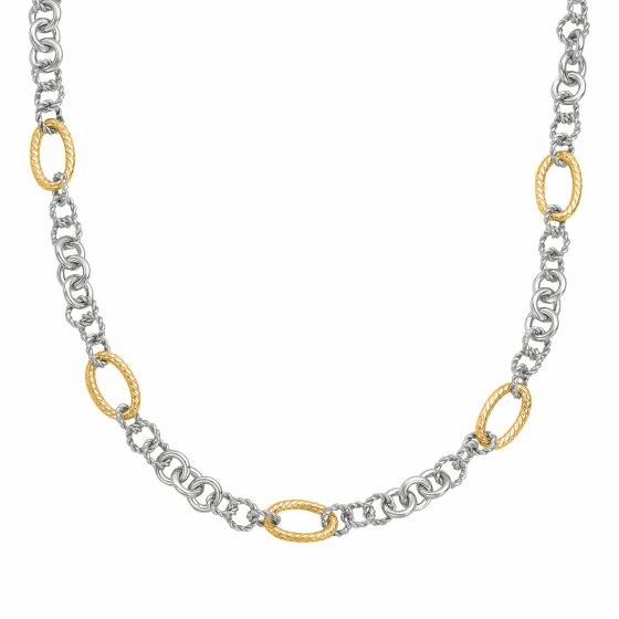 Silver and 18kt Gold Italian Cable 18 Inch Link Necklace
