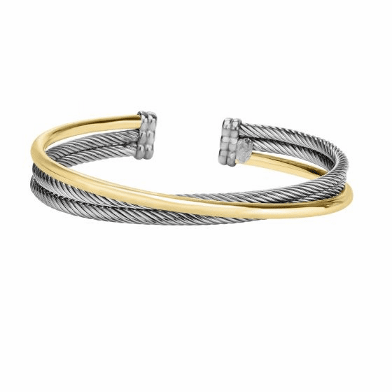 Silver and 18kt Gold Italian Cable Cross Over Cuff