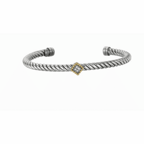 Silver and 18kt Gold Italian Cable Cuff Bangle with Diamonds