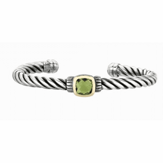Silver and 18kt Gold Italian Cable Cuff Bangle with Green Amethyst