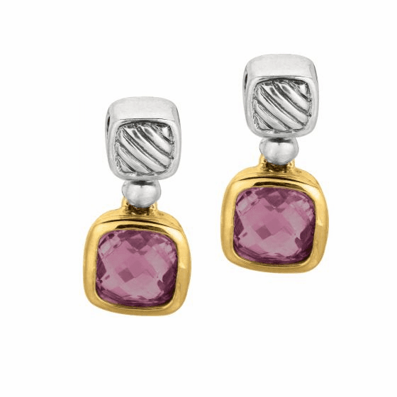 Silver and 18kt Gold Italian Cable Earrings with Amethyst