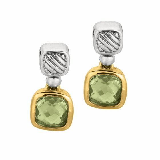 Silver and 18kt Gold Italian Cable Earrings with Green Amethyst