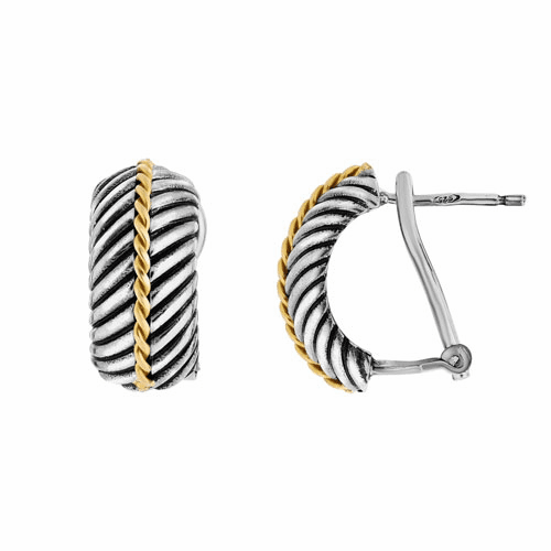 Silver and 18kt Gold Italian Cable Earrings with Lever Back Clasp