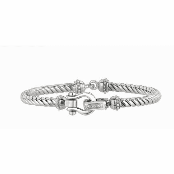 Silver and 18kt Gold Italian Cable Hook Clasp with Diamonds