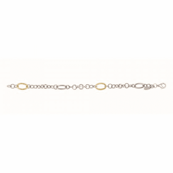 Silver and 18kt Gold Italian Cable Link Bracelet
