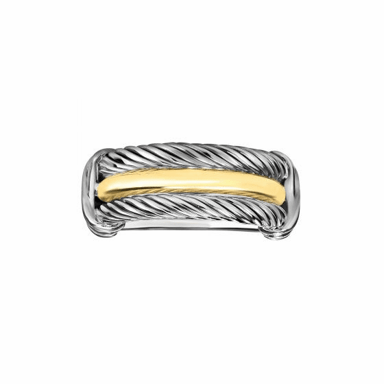 Silver and 18kt Gold Italian Cable Palladio Ring