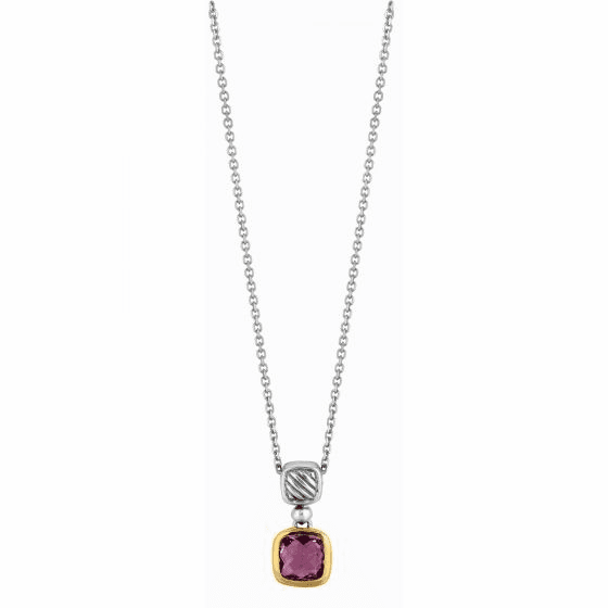 Silver and 18kt Gold Italian Cable Pendant with Amethyst