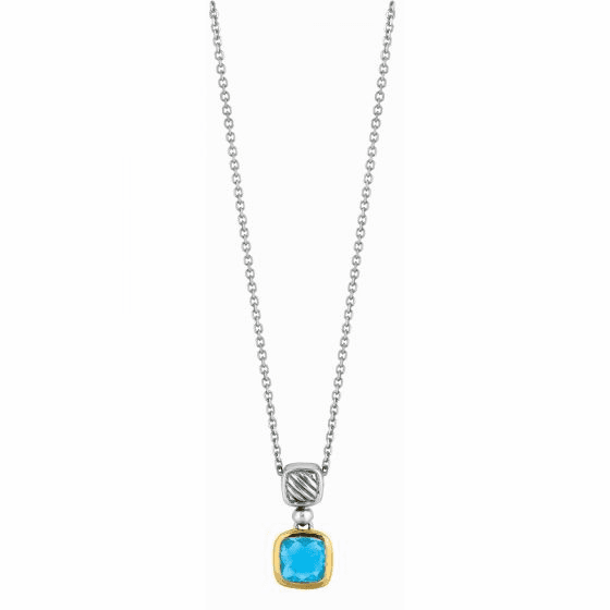 Silver and 18kt Gold Italian Cable Pendant with Blue Topaz