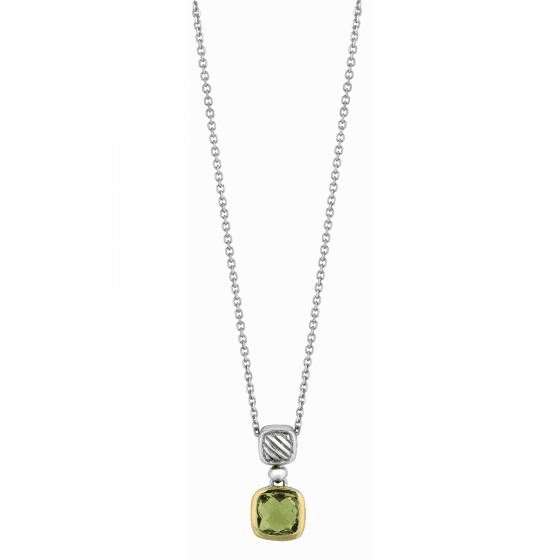 Silver and 18kt Gold Italian Cable Pendant with Green Amethyst