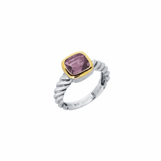 Silver and 18kt Gold Italian Cable Ring with Amethyst