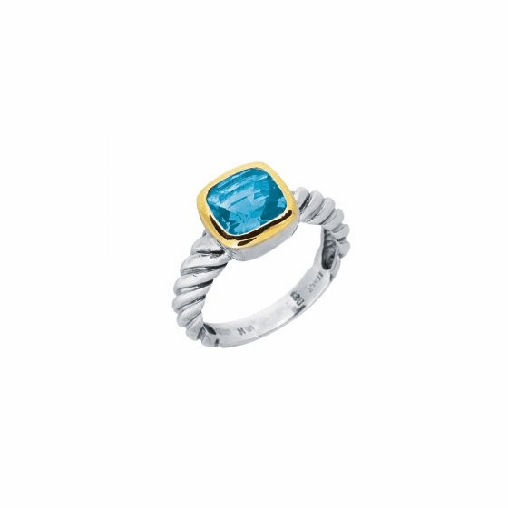 Silver and 18kt Gold Italian Cable Ring with Blue Topaz