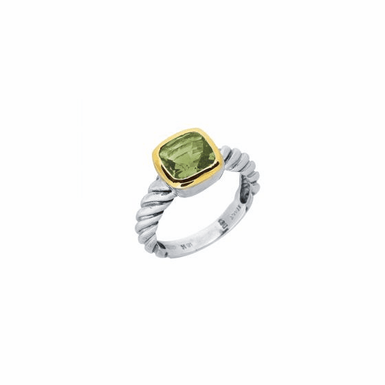 Silver and 18kt Gold Italian Cable Ring with Green Amethyst