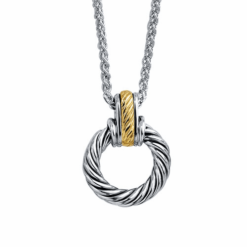 Silver and 18kt Gold Italian Cable Round Pendant