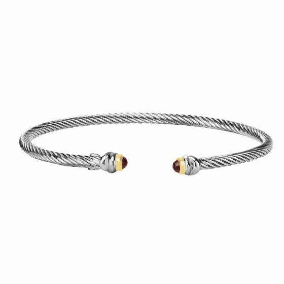 Silver and 18kt Gold Italian Cable Stackable Cuff Bracelet with Garnet