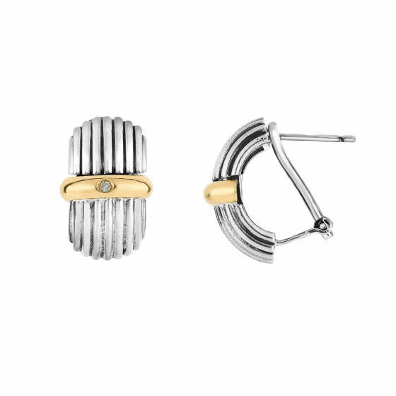 Silver and 18kt Gold Italian Cable with Diamond