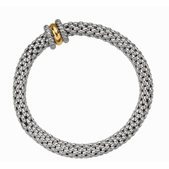 Silver and 18kt Gold Large Stretchable Popcorn Bracelet