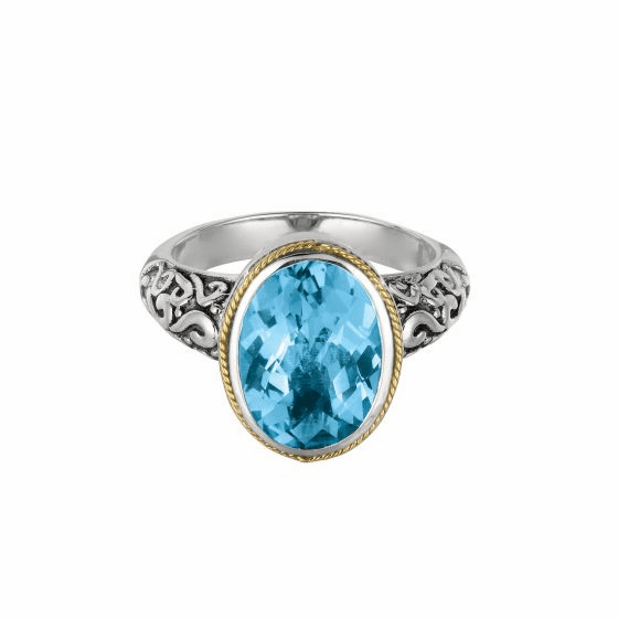 Silver and 18kt Gold Oval Byzantine Ring with Blue Topaz