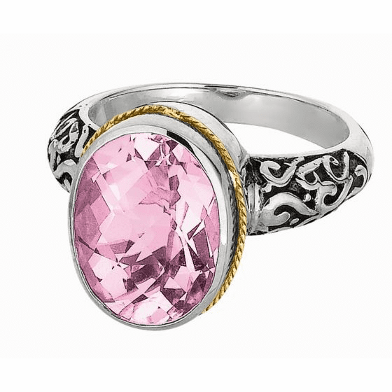 Silver and 18kt Gold Oval Byzantine Ring with Pink Amethyst