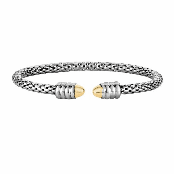 Silver and 18kt Gold Popcorn Bangle