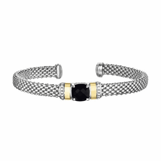 Silver and 18kt Gold Popcorn Cuff Bracelet with Black Onyx