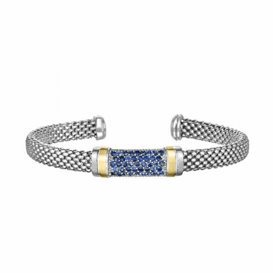 Silver and 18kt Gold Popcorn Cuff Bracelet with Blue Sapphires